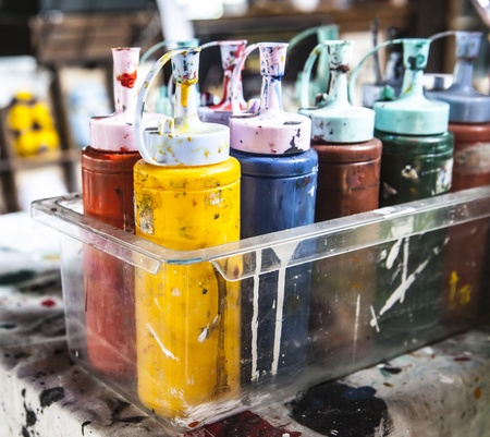Colorful paints bottles Stock Photo - 18084286
