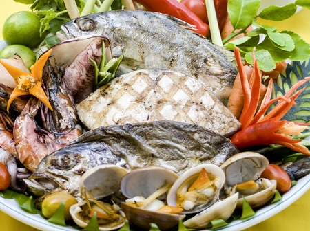 mix seafood grill Stock Photo - 18149155