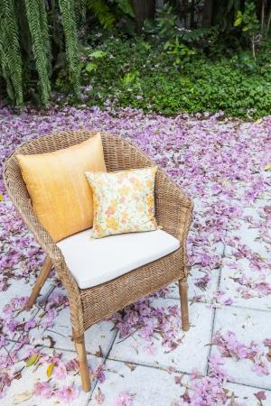 flowers in a garden chair  photo