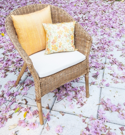 flowers in a garden chair  photo