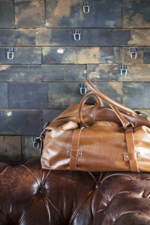 brown leather bag Banque d'images