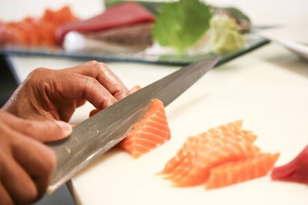 salmon fillet with knife Stock Photo - 19455226
