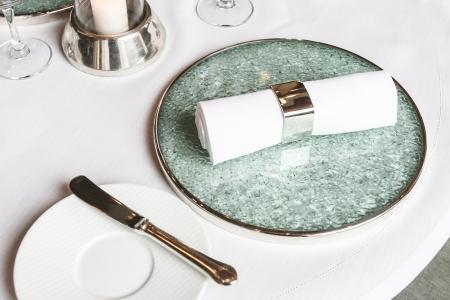 White linen napkin Stock Photo