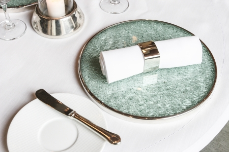 White linen napkin Stock Photo