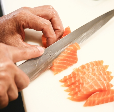 salmon fillet with knife Stock Photo - 19713976