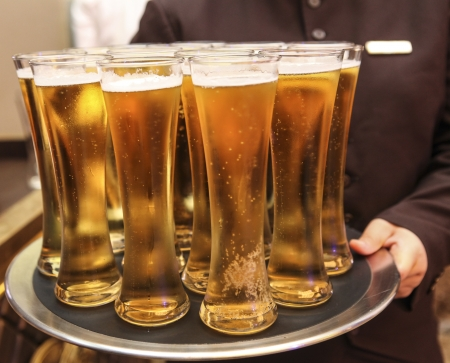 Cold beer in tall glasses Stock Photo - 23476590