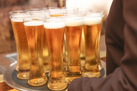 Cold beer in tall glasses Stock Photo - 23559089