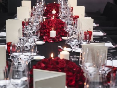 Banquet table setting for wedding