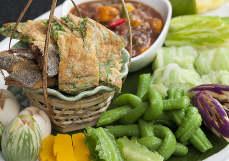 cha-om kai, Acacia Pennata, Omelet Thai Style Stock Photo - 28022636