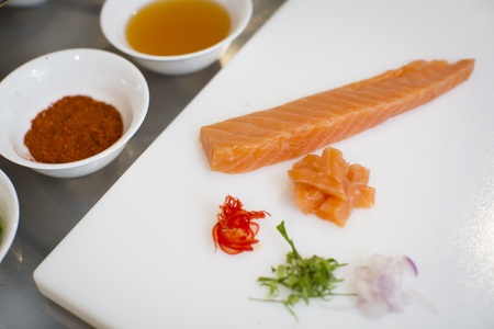yum: Yum yum raw salmon  Stock Photo