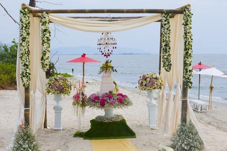 Beach wedding cake photo