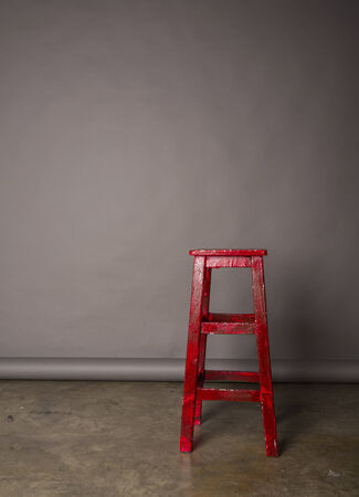 chair wooden: Red wooden chair Stock Photo