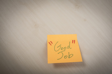 assert: Sticky note with text Good job Stock Photo