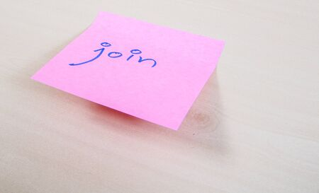 note paper: Join on pink paper note