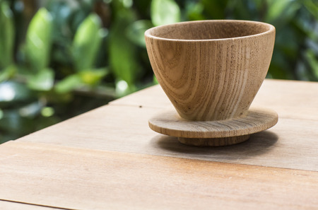 non alcoholic beverage: Wooden tea cup