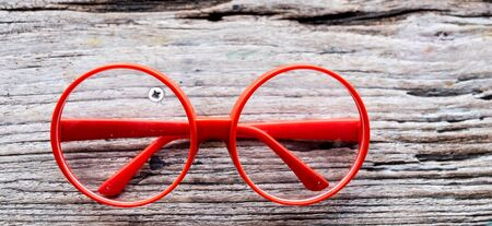 eye glasses: red fashion glasses