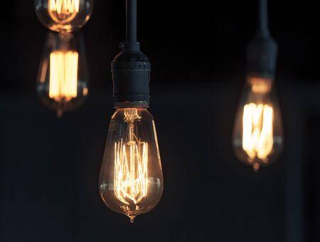 metal filament: Lighting decor. Retro light bulb