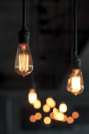 metal interior: Lighting decor. Retro light bulb