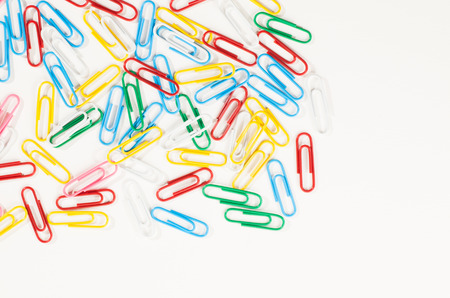 paperclips: Set of colorful paperclips on a white background. Top view.