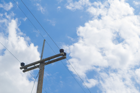 utility pole: Utility pole with sky background