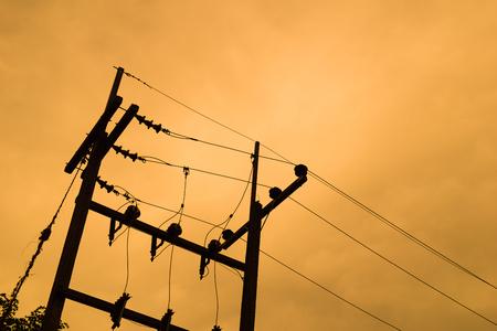 utility pole: Utility pole  with sky background Stock Photo