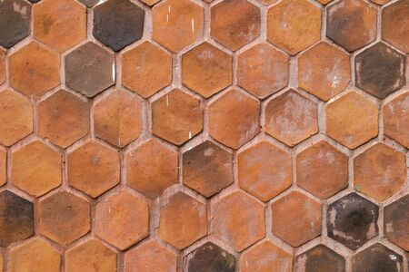brown hexagon brick wall background