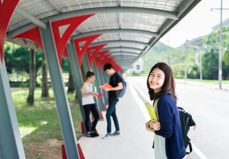 Young Students Group with School Folders Book in Education Campus University Outdoor