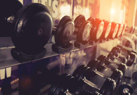 Dumbbell with rack for workout exercise muscle building strong heavy weight in fitness gym and healthy lifestyle