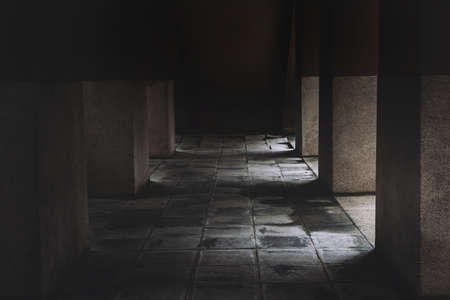 Horror house of scary scene after dead and murder ruin home walkway floor halloween concept.