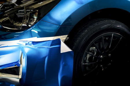 Wrapping car deteling film blue Metallic color vinyl protection damage when driving, Automobile transportation service