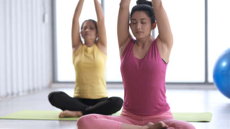Two asian woman are doing practicing lotus yoga poses in room on the morning. Full length of two young sporty women with joined hands in fitness studio. Healthy fitness yoga concept.