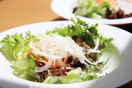 Frischer Salat in einem weißen Teller Standard-Bild - 6715874