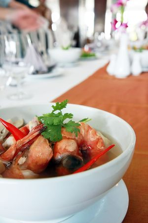 Thai food Tom Yum Kung in a bowl Stock Photo - 6715853