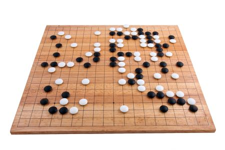 backgound: Japanese go board in white backgound