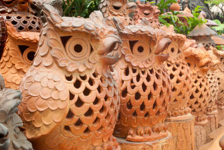 earthenware: Earthenware owl , thailand Stock Photo