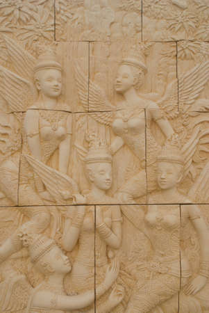 Five angels in terracotta , thailand photo