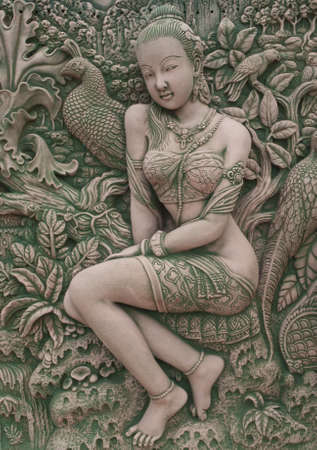 angel relief in terracotta , thailand photo