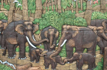 earthenware: Elephants in the jungle,  earthenware  ,thailand Stock Photo