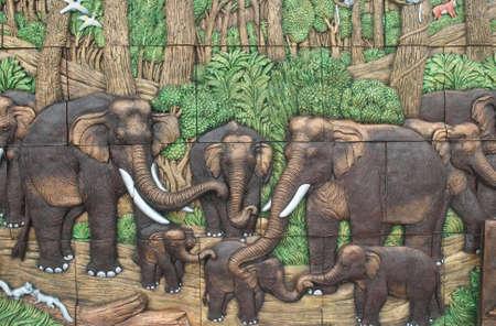 dan: Elephants in the jungle,  earthenware  ,thailand Stock Photo