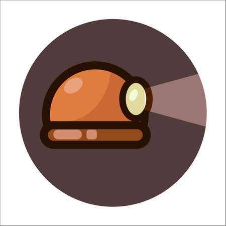A vector illustration of a miners helmet with a lamp and light on a dark background. A flat icon.