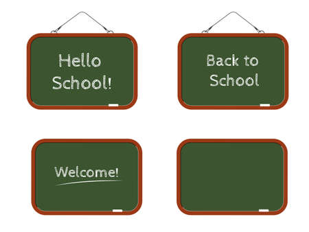 Set of green school boards with white inscriptions Back to school, Welcome and Hello school and blank template for your text, isolated on white