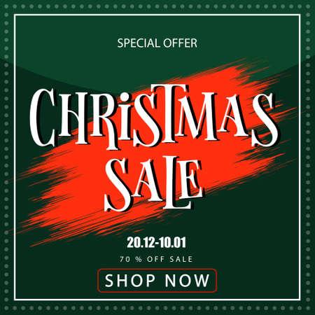 Christmas sale banner on green