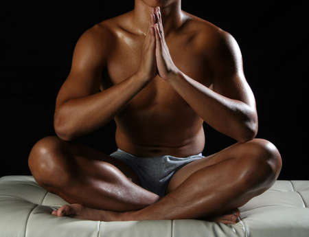 asian abs: Sit in a comfortable position, doing meditation.