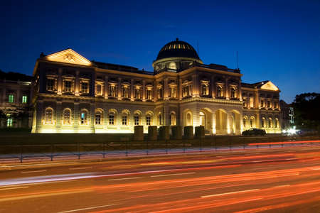 singapore culture: View of Singapore National Museum at Night in the busy road.