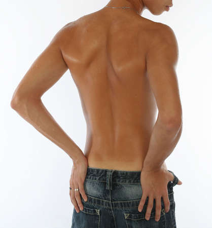 shirtless man: Back of tanned young man with white background Stock Photo