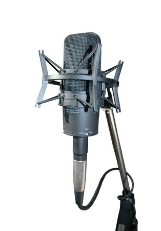 vocals: studio microphone on shock absorber stand for recording vocals.