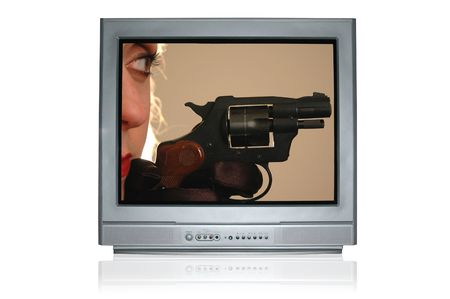 self communication: television showing woman with a handgun.