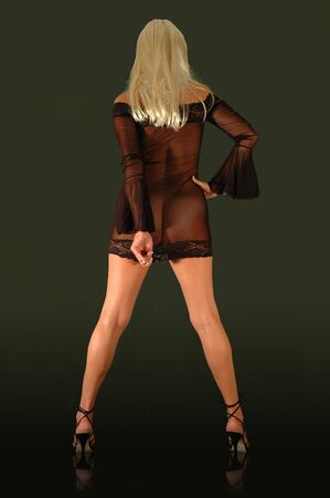 blond stripper performing in sheer black mini skirt. Stock Photo - 1922500