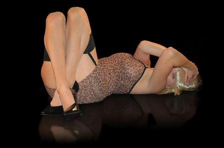 thighs: Hermosa mujer rubia en vestido sexy y medias.  Foto de archivo