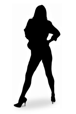 sexy silhouette of tall long legged woman. Stock Photo